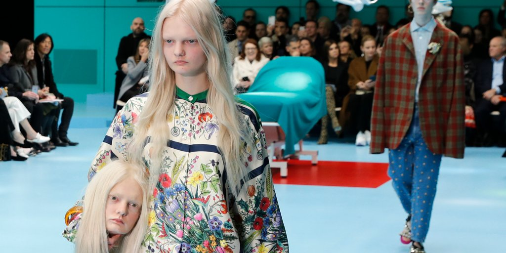 Gucci Models carry their own Prosthetic Heads downrunway